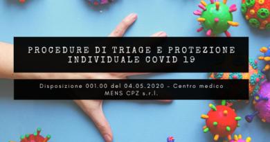 Disposizione 001.00 del 04.05.2020 – Centro medico MENS CPZ s.r.l.